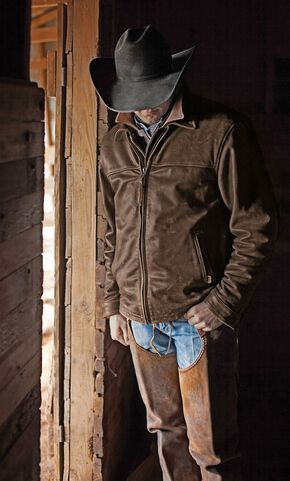 STS Ranchwear Men's Rifleman Brown Leather Jacket, Brown, hi-res