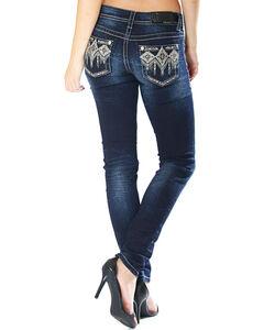 Grace in La Women's Dark Wash Tribal Pocket Jeans - Skinny , Indigo, hi-res