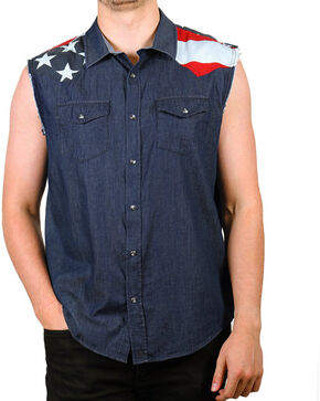 Cody James Men's Union American Flag Denim Shirt, Navy, hi-res