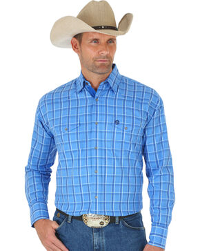 Wrangler George Strait Troubadour Blue Plaid Western Shirt , Blue, hi-res