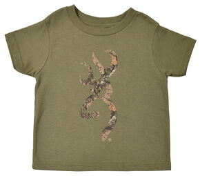 Browning Toddler Boys' Heather Green Mo Country Buckmark T-Shirt , Loden, hi-res