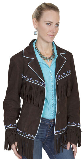 Scully Women's Embroidered Fringe Suede Jacket, Chocolate, hi-res
