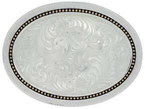 Montana Silversmiths Wheat & Golden Star Oval Belt Buckle, Multi, hi-res