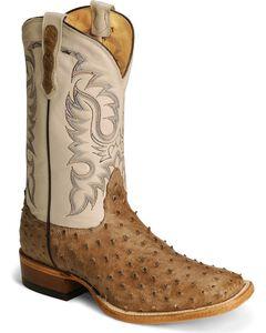 Nocona Full Quill Ostrich Western Cowboy Boots - Square Toe, , hi-res
