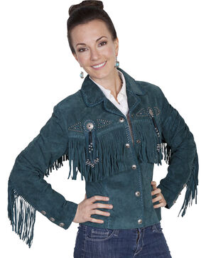 Scully Women's Teal Western Suede Fringe Jacket - Extended Sizes , Teal, hi-res