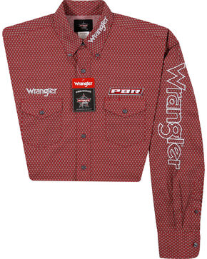 Wrangler Men's Red Logo Long Sleeve Shirt , Red, hi-res