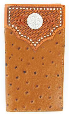 Nocona Studded Basketweave Overlay Ostrich Print Rodeo Wallet, , hi-res