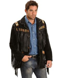 Scully Black Bone Beaded Fringe Leather Jacket, , hi-res