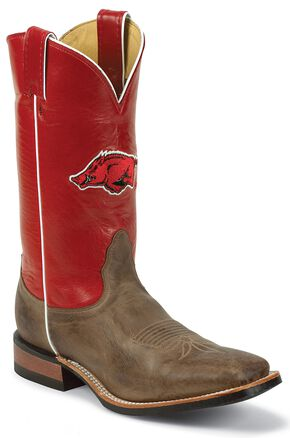 Nocona Men's University of Arkansas College Cowboy Boots - Square Toe, Tan, hi-res