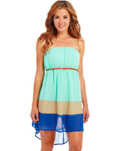 Cowgirl Up Strapless Blue Block Dress, , hi-res