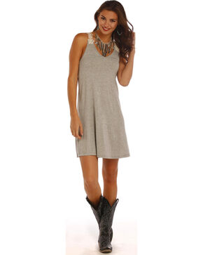 Panhandle Slim Women's Grey Swing Crochet Lace Strap Dress, Grey, hi-res