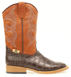 Double Barrel Boys' Bronc Gator Cowboy Boots - Square Boots, , hi-res