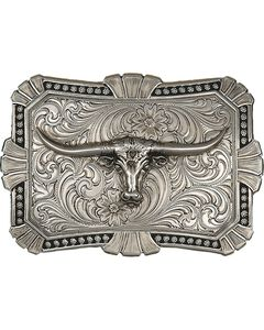 Montana Silversmiths Engraved Longhorn Buckle, , hi-res