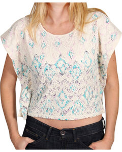 Shyanne Girls' Chevron & Lace Poncho Crop Top , , hi-res