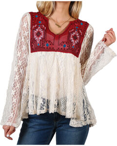 Shyanne® Women's Aztec Patterned Allover Lace Long Sleeve Top, , hi-res