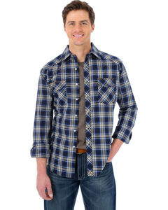 Wrangler 20X Navy and Brown Plaid Western Shirt, , hi-res