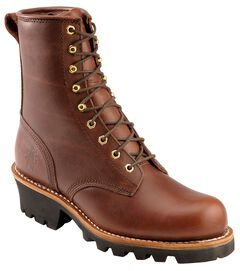 "Chippewa Insulated 8"" Lace-Up Logger Boots - Steel Toe, , hi-res"