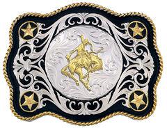 Montana Silversmiths Sheridan Style Bronc Rider Western Belt Buckle, , hi-res