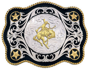 Montana Silversmiths Sheridan Style Bronc Rider Western Belt Buckle, Multi, hi-res