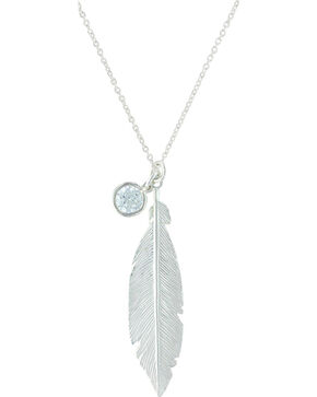 Montana Silversmiths Women's Starlight Feather Charm Necklace , Silver, hi-res
