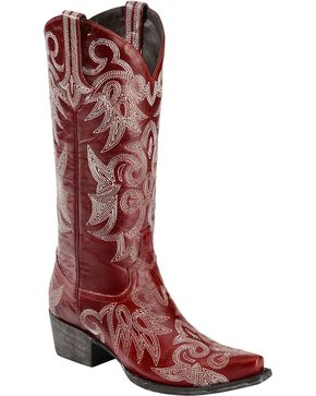 Lane Wild Ginger Cowgirl Boots - Snip Toe, Red, hi-res