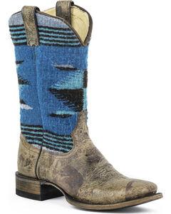 Stetson Roxanne Blue Serape Cowgirl Boots - Square Toe, , hi-res