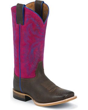 Justin Girls' Purple Cowgirl Boots - Square Toe, , hi-res