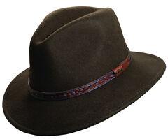 Scala Men's Olive Wool Felt with Leather Trim Safari Hat, , hi-res