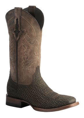 Lucchese 1883 Horseman Sanded Shark Cowboy Boots - Square Toe, Chocolate, hi-res