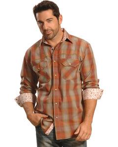 Crazy Cowboy Men's Rust Plaid Contrast Trim Western Shirt, , hi-res