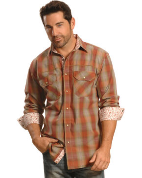 Crazy Cowboy Men's Rust Plaid Contrast Trim Western Shirt, Rust, hi-res