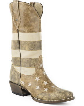 Roper Men's Brown Vintage American Flag Western Boots - Square Toe , Brown, hi-res