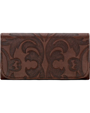 American West Chestnut Brown Baroque Tri-Fold Wallet , Brown, hi-res