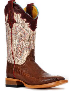 Cinch® Women's Ostrich Leg Cowgirl Boots - Square Toe, Chestnut, hi-res