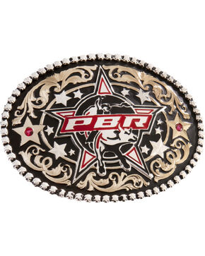 Montana Silversmiths PBR Stars Buckle, Silver, hi-res