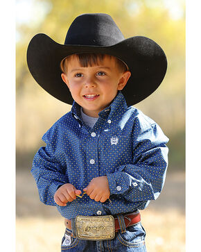 Cinch Toddler Boys' Long Sleeve Blue Print Button Down Shirt, Blue, hi-res