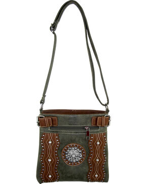 Savana Brown Turquoise Concho Crossover, Brown, hi-res