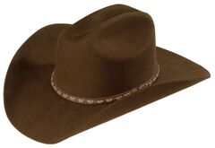 Justin Plains 2X Wool Cowboy Hat, Brown, hi-res
