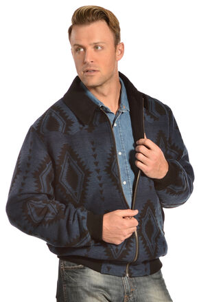 Powder River Outfitters Men's Aztec Wool Bomber Jacket, Navy, hi-res