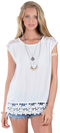 Others Follow Lessian White Lace Hem Top , , hi-res