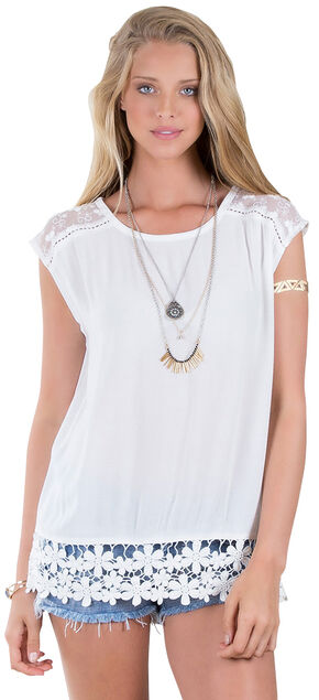 Others Follow Lessian White Lace Hem Top , White, hi-res