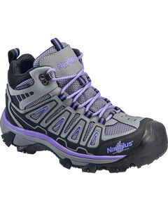 Nautilus Women's Grey and Purple Lightweight Waterproof Hiker Work Boots - Steel Toe , , hi-res