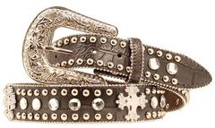 Blazin Roxx Faux Leather Croc Print Studded Cross Belt, , hi-res