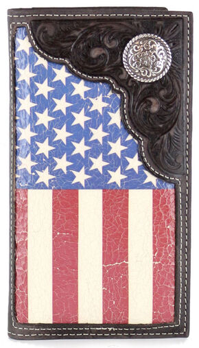 Cody James Men's American Flag Concho Rodeo Wallet , Tan, hi-res