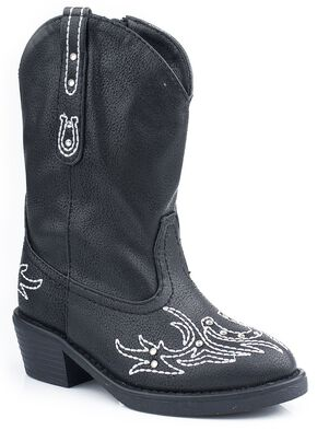 Roper Infant Girls' Bling Stitch Cowgirl Boots, Black, hi-res