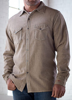 Ryan Michael Men's Tan Teton Texture Stripe Shirt, Tan, hi-res