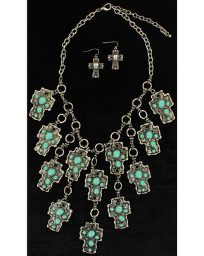Blazin Roxx Turquoise Mosaic Cross Necklace & Earrings Set, Turquoise, hi-res