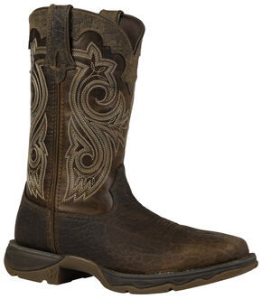 Durango Women's Lady Rebel Steel Toe Cowgirl Boots - Square Toe, Brown, hi-res