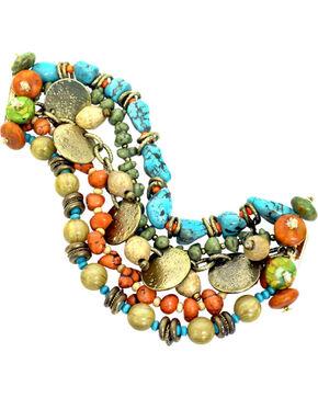 Treska Women's 5 Row Beaded Bracelet , Turquoise, hi-res