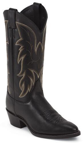 Justin Black Basic Western Boots - Medium Toe, Black, hi-res